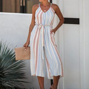 Multocolor striped pocketed wide pants jumpsuit